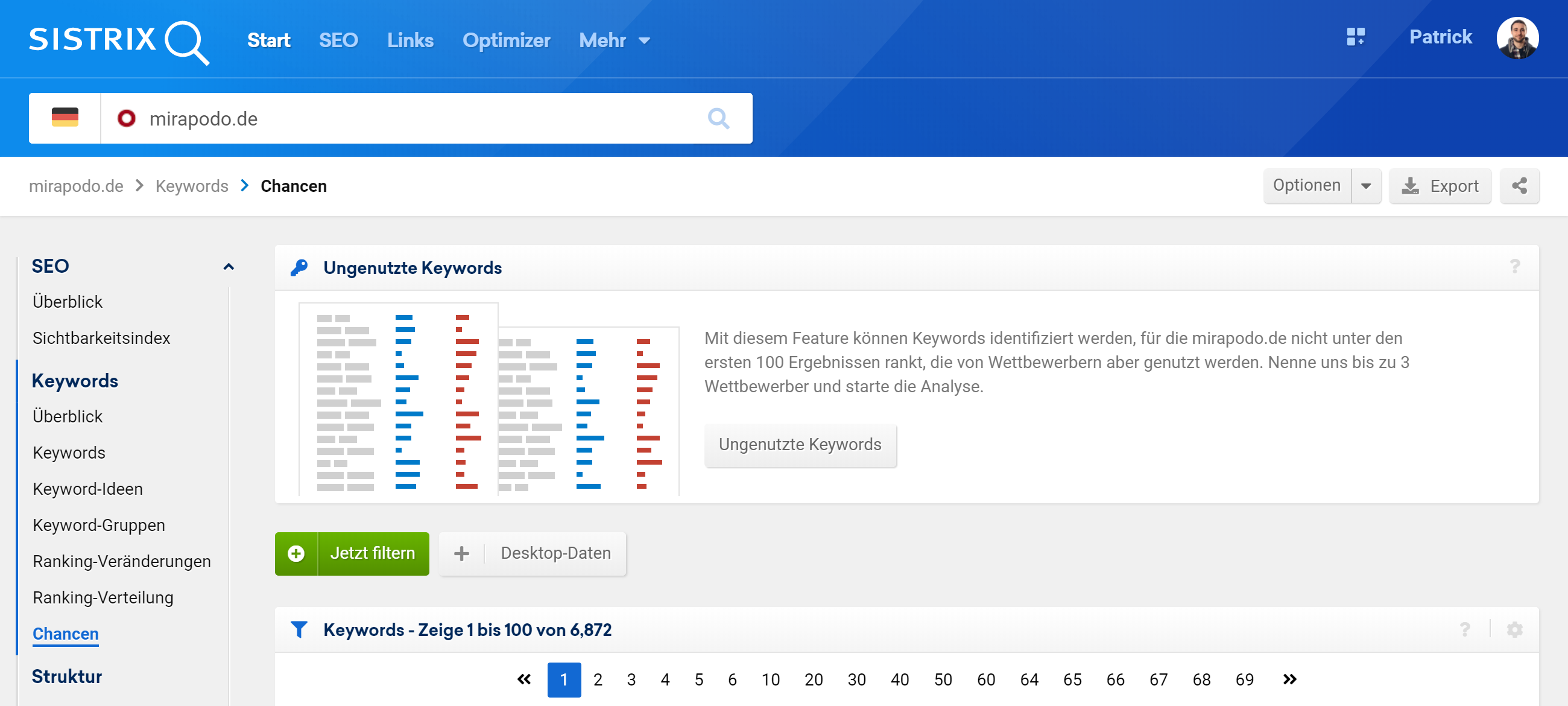 """Klickpfad zu den """"Ungenutzten Keywords"""" für die Domain mirapodo.de. Gib dazu die Domain in die Suchleiste ein, klicke in der linken Navigation daraufhin auf """"Chancen"""" und dann auf den Button """"Ungenutzte Keywords""""."""