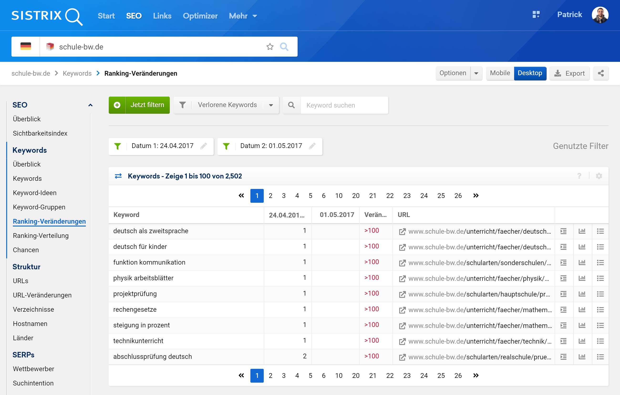Ansicht der Ranking-Veränderung in der SISTRIX Toolbox für die Domain schule-bw.de. Es werden die Zeitpunkte 24.04.2017 und 01.05.2017 miteinander verglichen und alle verlorenen Keywords angezeigt.