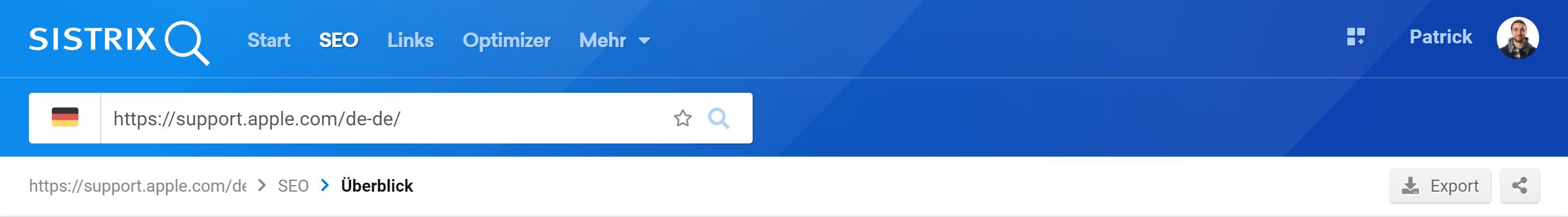 Top-Navigation der SISTRIX Toolbox mit Suchleiste. Dort ist ein Verzeichnis auf support.apple.com eingegeben.