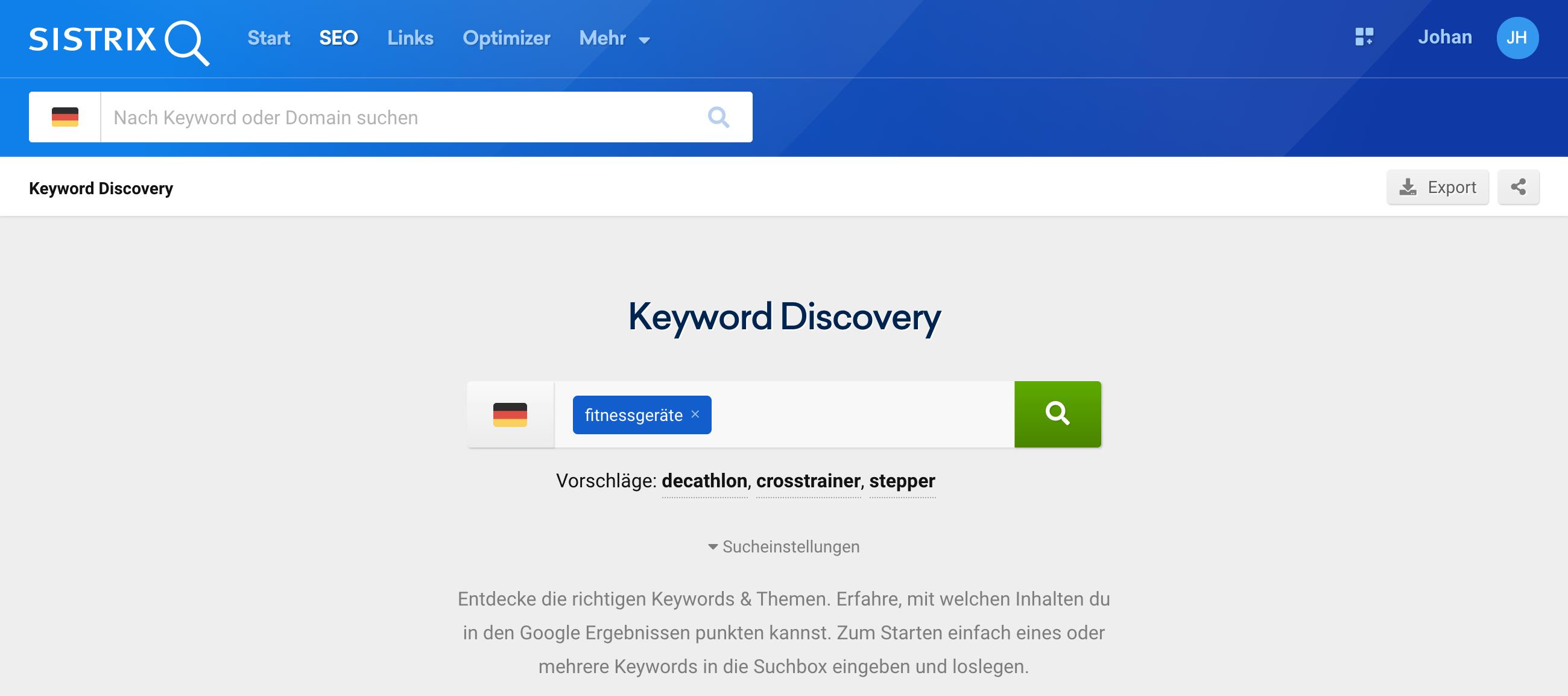Startseite Keyword Discovery