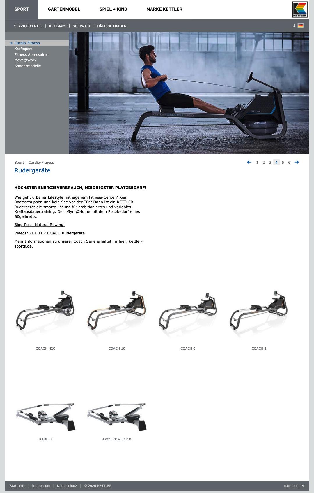 Screenshot Kategorieseite Kettler Rudergeräte