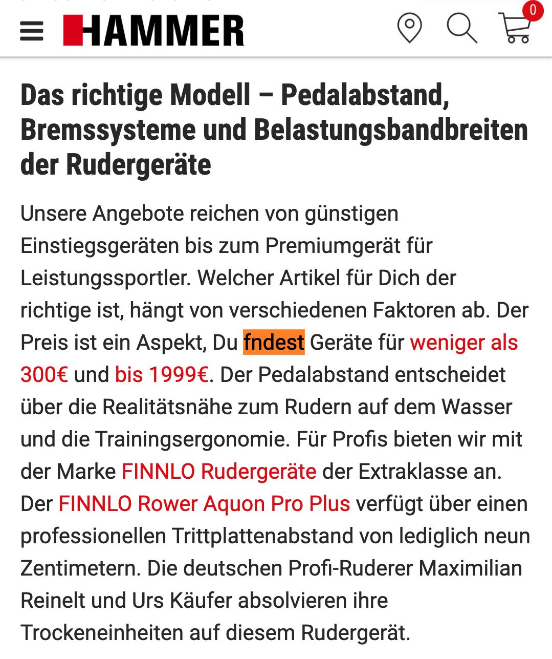 Textabsatz mit 4 Links, ohne Bilder und einem Tippfehler auf Rudergeräte-Seite von Hammer.de