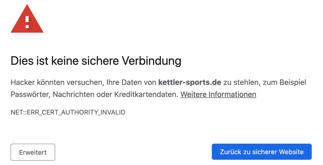 """Screenshot Fehlermeldung """"Dies ist keine sichere Verbindung"""""""