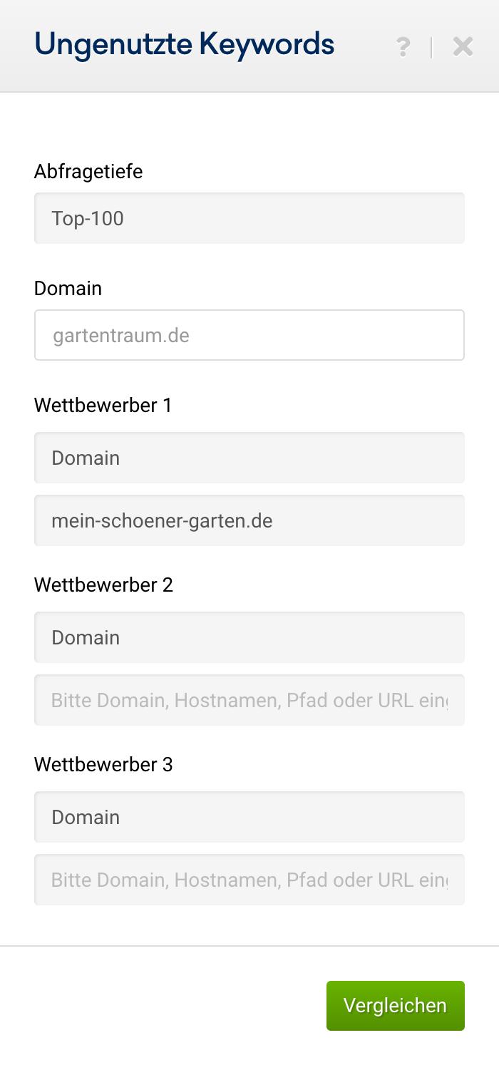 """Auswahl für die Funktion """"Ungenutzte Keywords"""" hier können bis zu 3 Wettbewerber-Domain eingegeben werden und es die Abfragetiefe (top-100, top-20 oder top-10) kann festgelegt werden."""