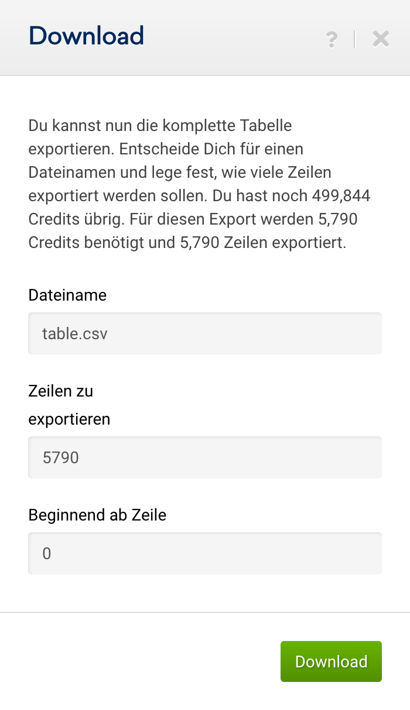 """Export-Optionen für """"Vollständige Tabelle exportieren"""" in den """"Ungenutzten Chancen"""" im SEO-Modul. Es kann der Dateiname definiert werden und die Anzahl der zu exportierenden Zeilen festgelegt werden."""