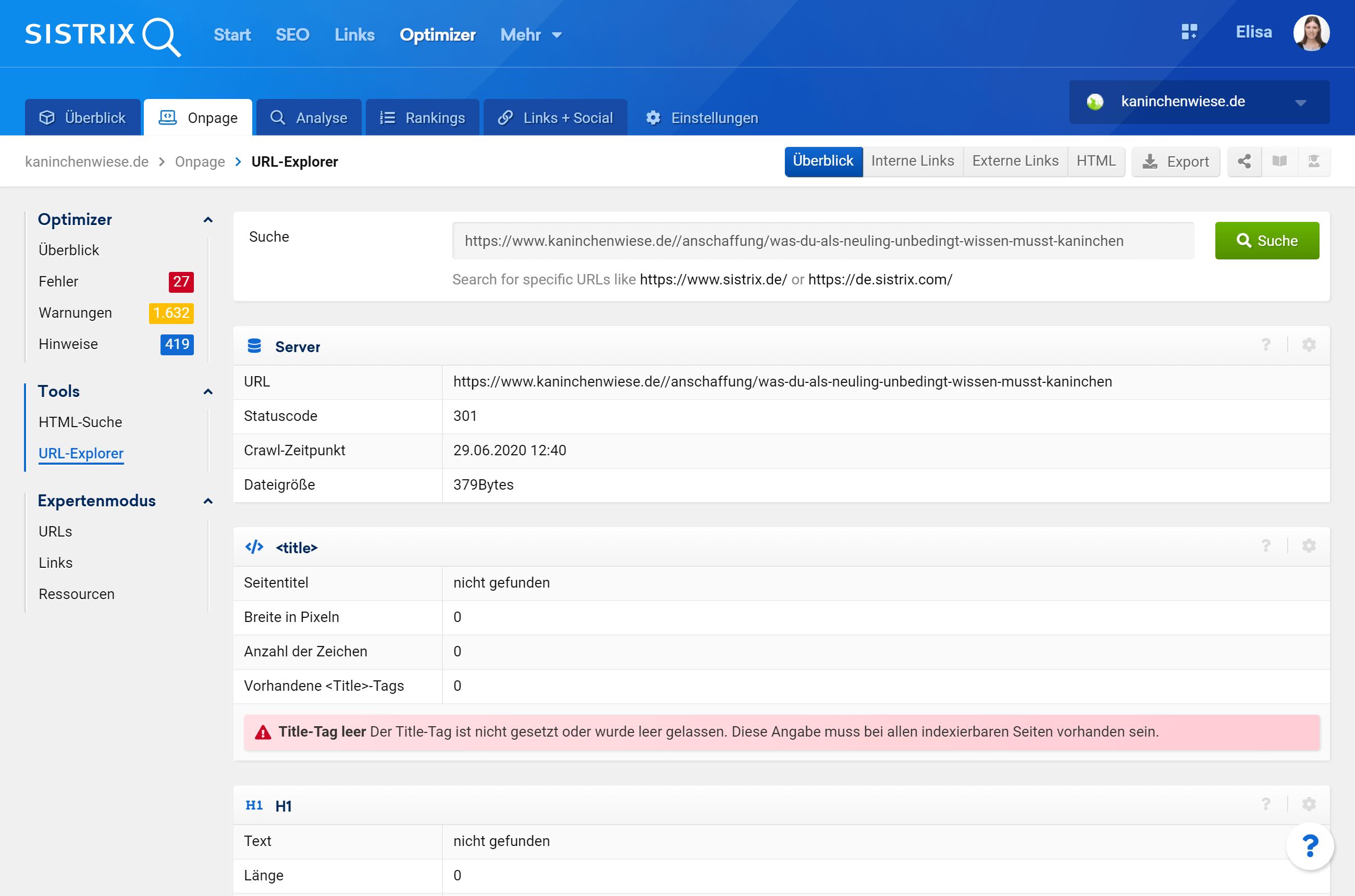 URL Explorer im SISTRIX Optimizer