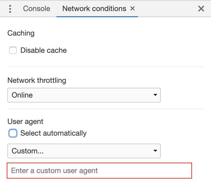 Zeigt die User Agent-Einstellung in den Entwicklertools von Google Chrome an.