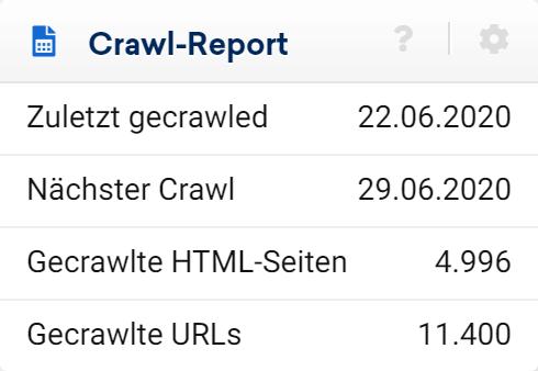 In der ersten Box auf der linken Seite zeigen wir dir die wichtigsten Crawling-Informationen zu deinem Optimizer-Projekt.