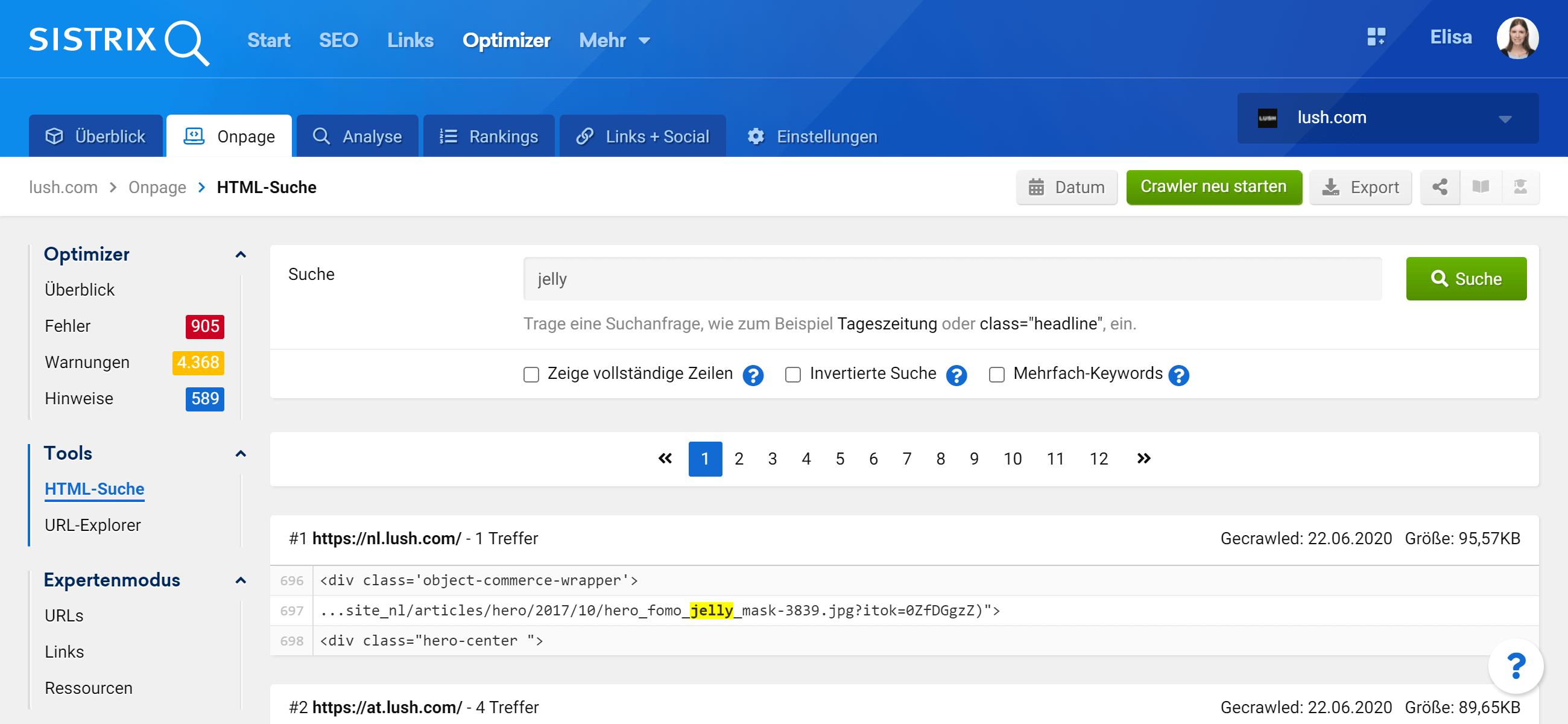 """Die Funktion """"HTML-Suche"""" ermöglicht es dir, bestimmte Texte oder Zeichensätze zu finden, die im HTML-Quellcode aller URLs der Website des Projekts enthalten sind."""
