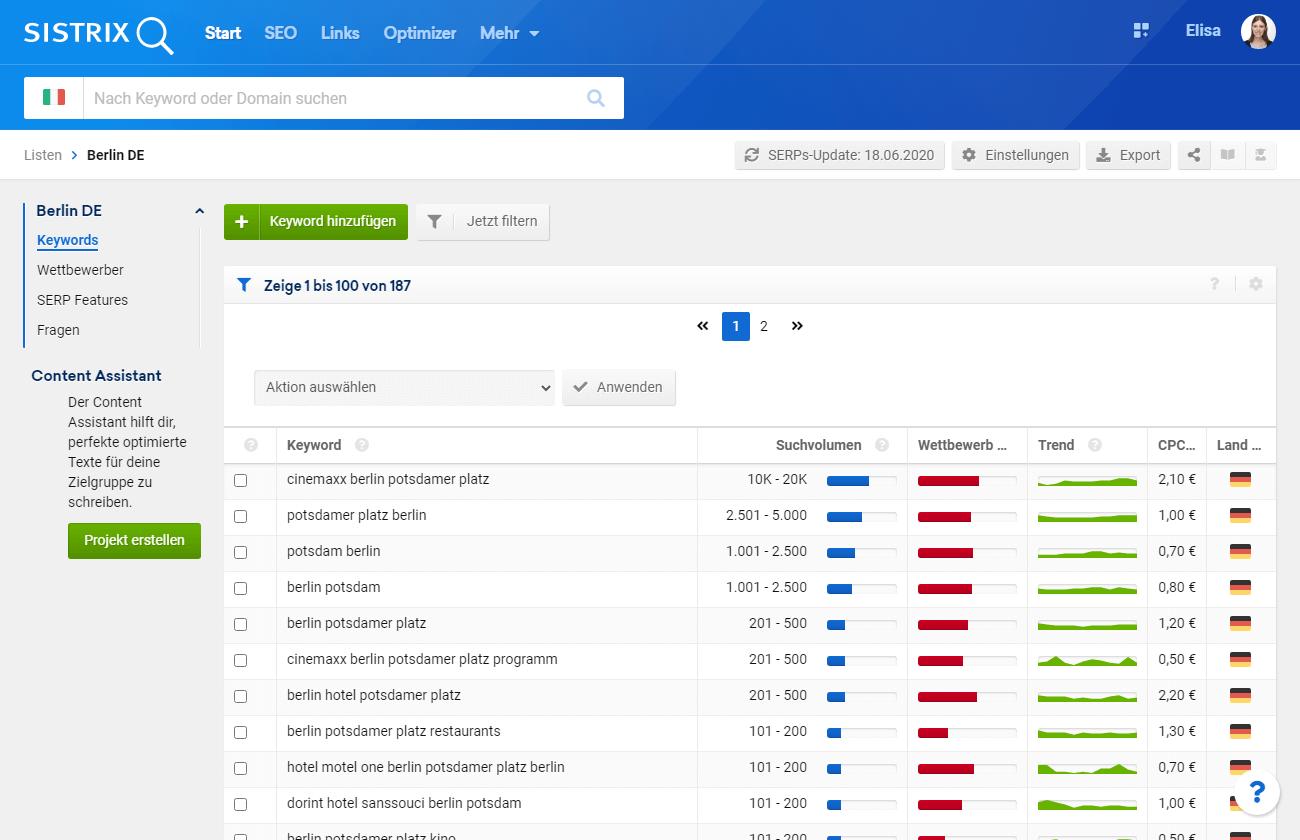 Beispiel von Liste in der SISTRIX Toolbox