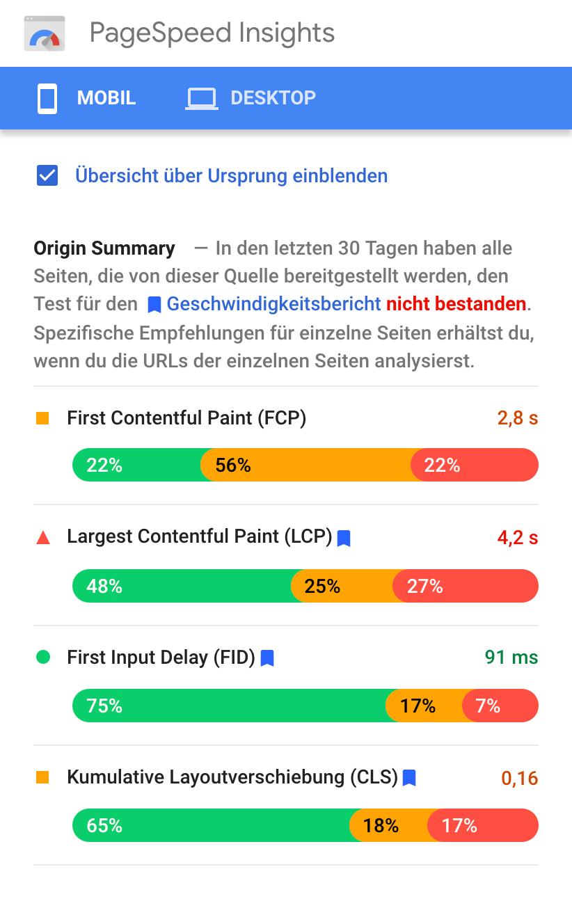 Zeigt die Ergebnisseite nach einer Überprüfung der PageSpeed Insights in der Mobileansicht.