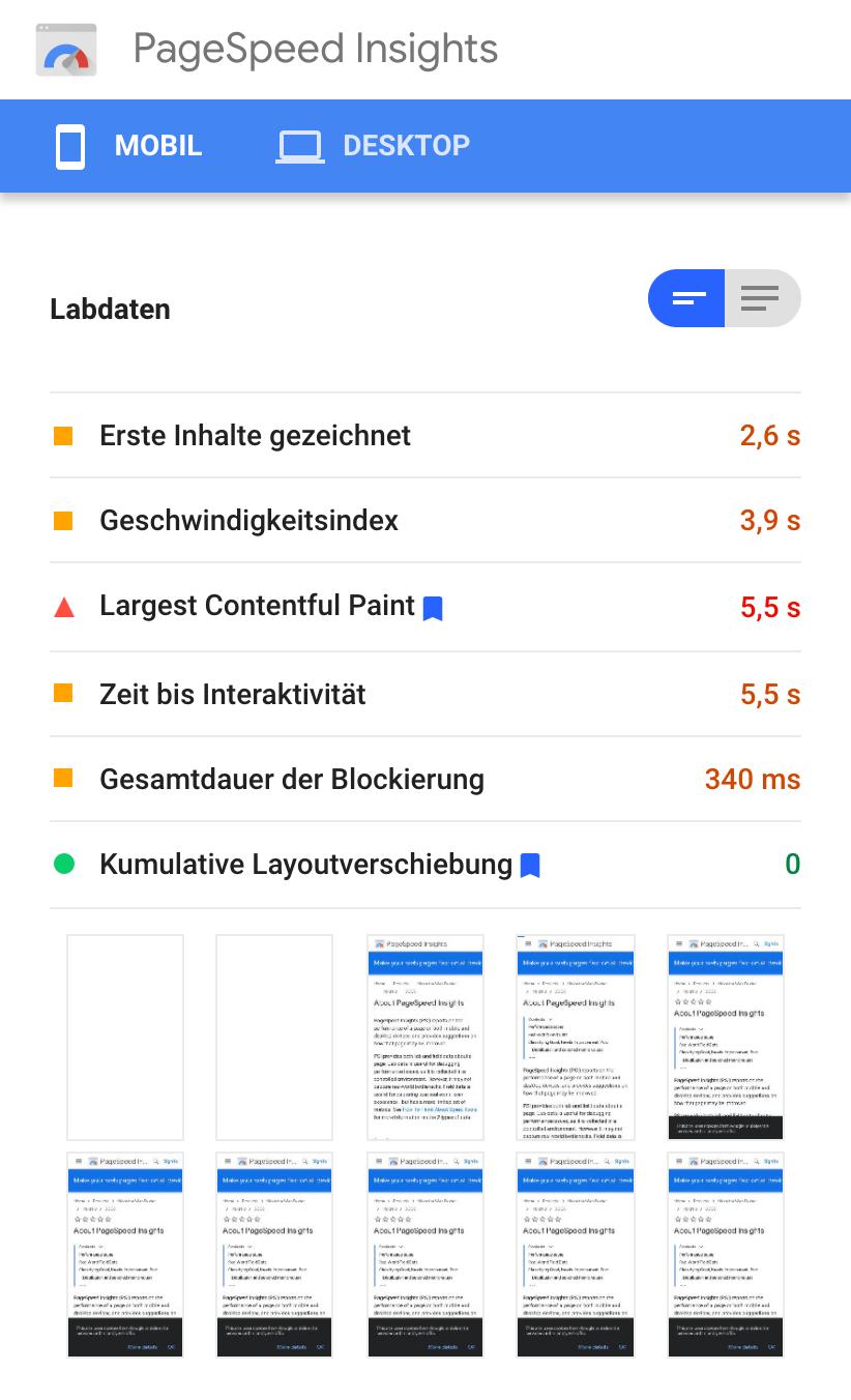 """Zeigt die Ergebnisseite nach einer Überprüfung der PageSpeed Insights in der Mobileansicht. Hier werden die """"Labdaten"""" der Ergebnisseite angezeigt."""