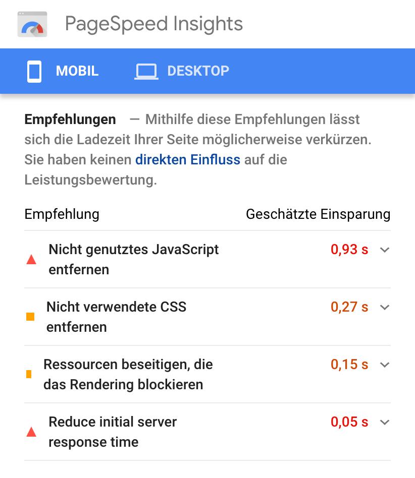"""Zeigt die Ergebnisseite nach einer Überprüfung der PageSpeed Insights in der Mobileansicht. Hier werden die """"Empfehlungen"""" der PageSpeed Insights angezeigt."""