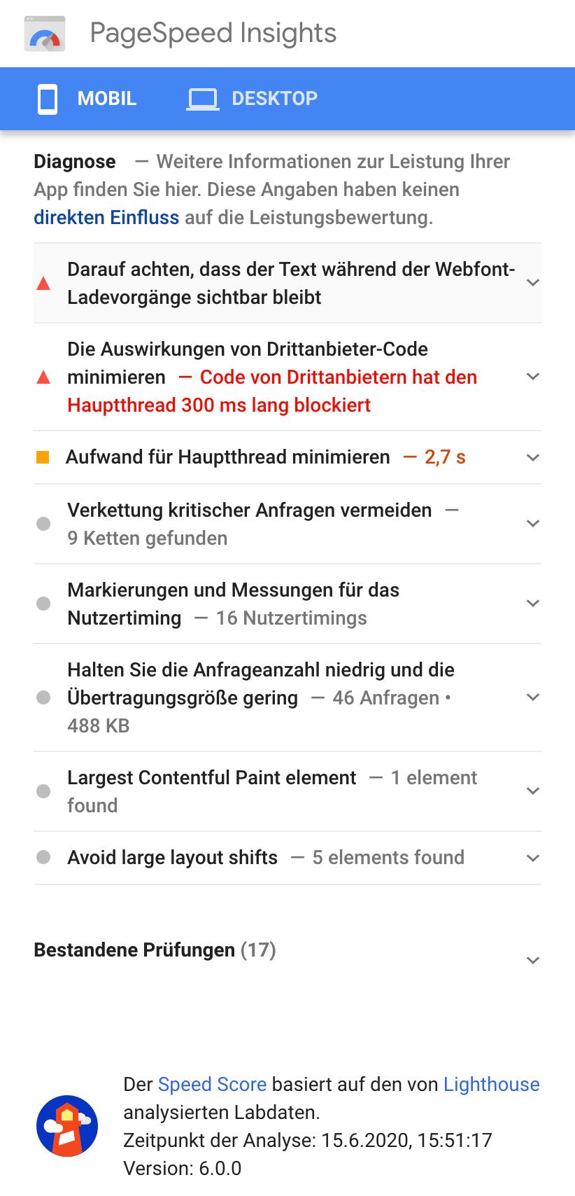 """Zeigt die Ergebnisseite nach einer Überprüfung der PageSpeed Insights in der Mobileansicht. Hier wird die """"Diagnose"""" der PageSpeed Insights angezeigt."""
