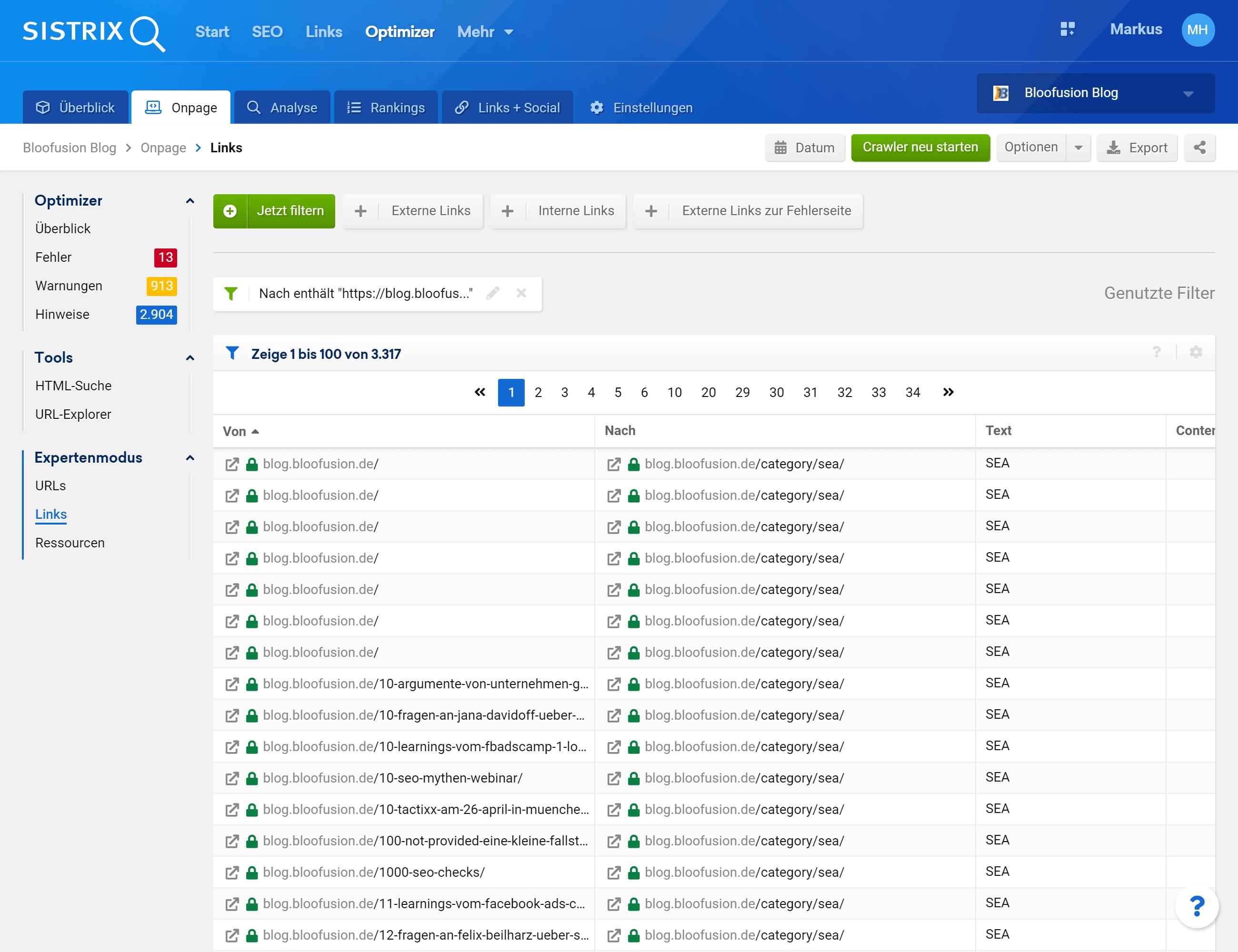 """Im Bereich """"Onpage > Expertenmodus > Links"""" werden alle internen Links angezeigt, die man sich dann filtern kann, um so z. B. festzustellen, dass eine bestimmte Seite nur konstant mit einem Ankertext (Spalte """"Text"""") verlinkt wird"""