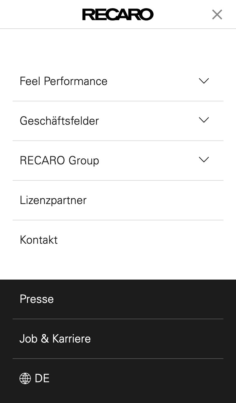 Zeigt die mobile Hauptnavigation der Domain de.recaro.com an.
