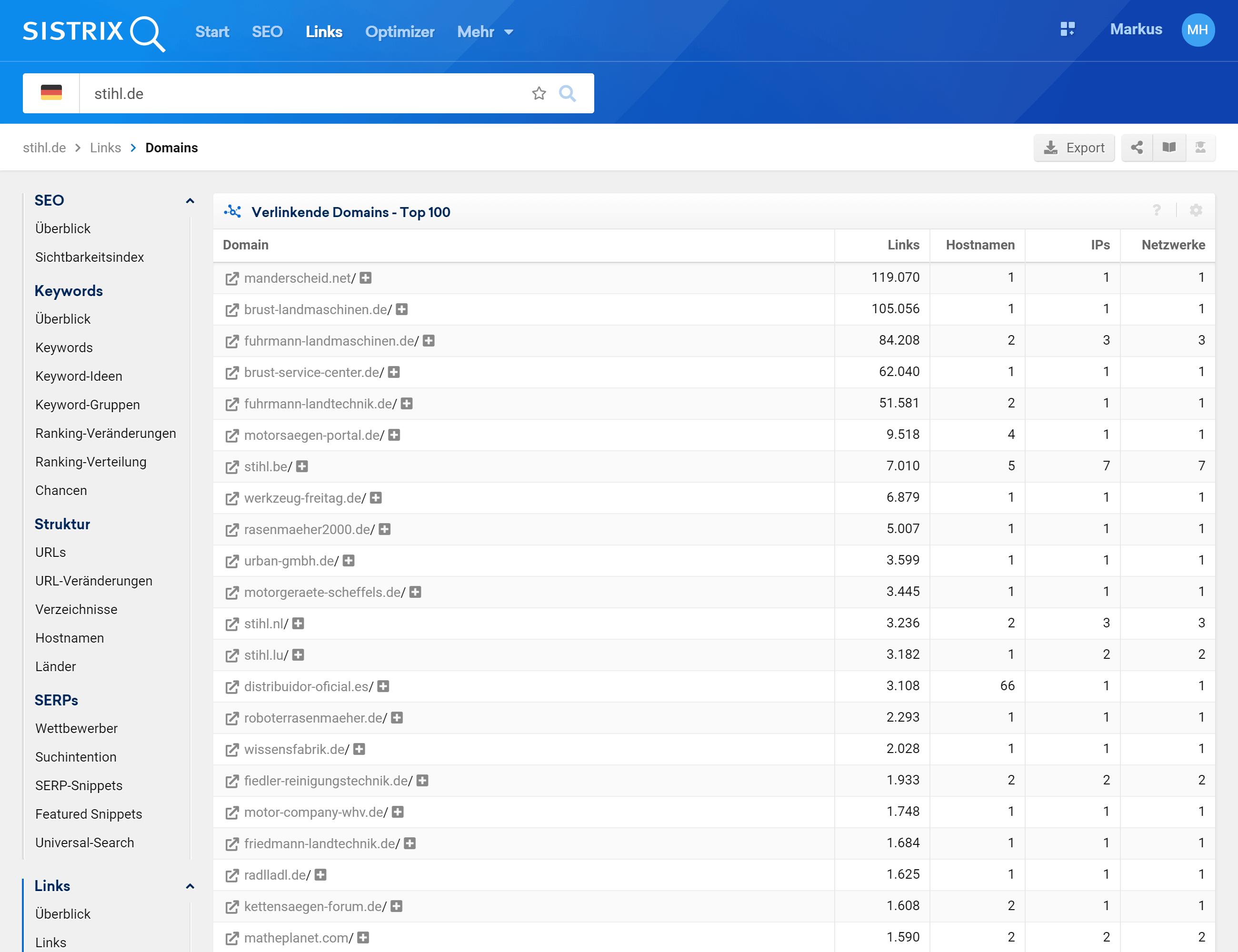 Verlinkende Domains von stihl.de