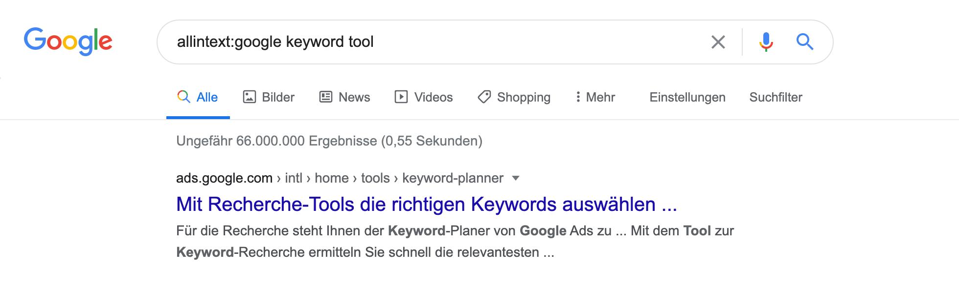 Zeigt die allintext:-Abfrage in den Google Suchergebnissen an.