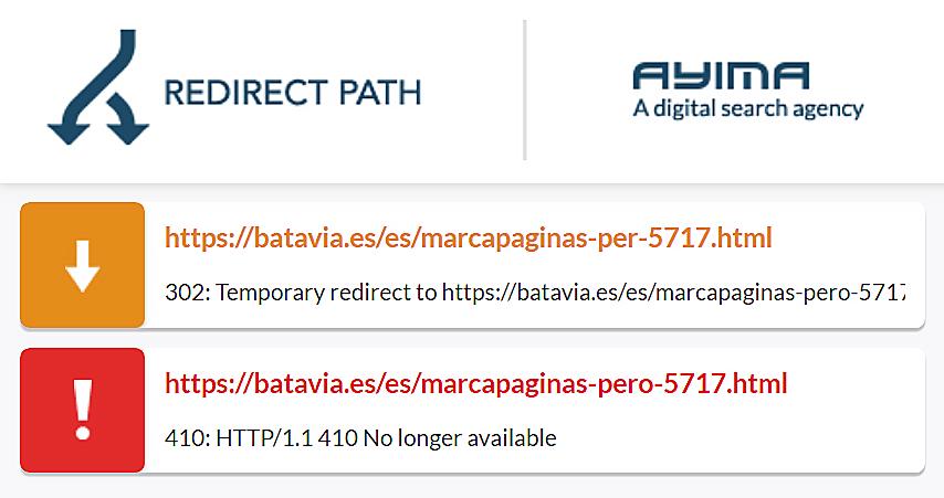 Zeigt einen 410 Statuscode im Browserplugin Ayima Redirect Path an.