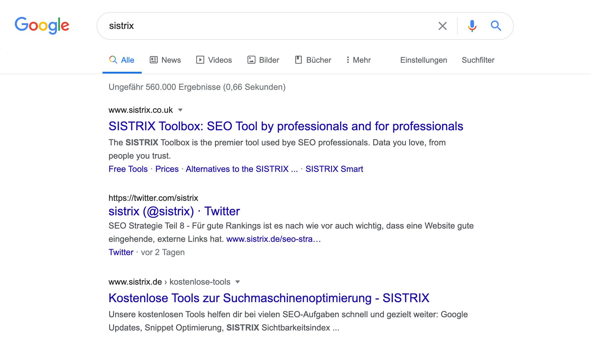 """Suchergebnisseite bei Google für den Suchbegriff """"sistrix"""""""