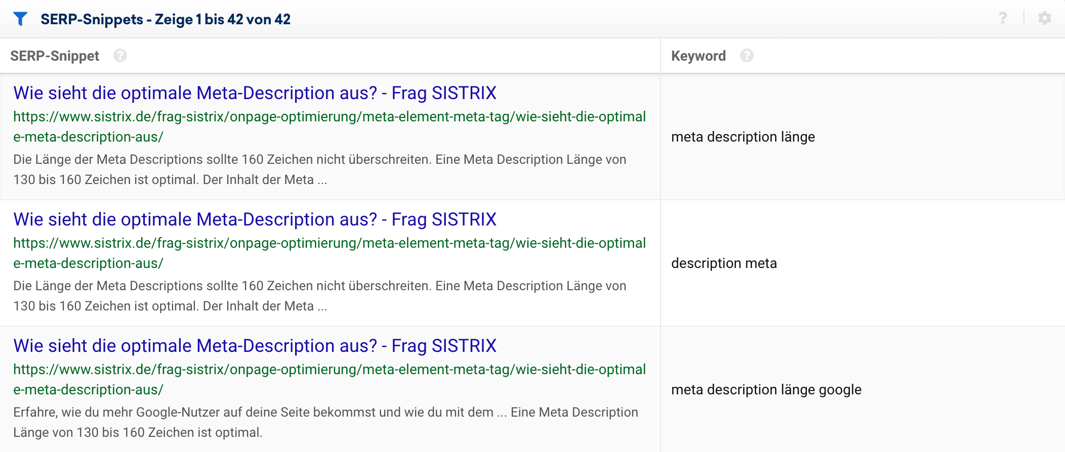 SERP-Snippets-Tabelle in der SISTRIX Toolbox.