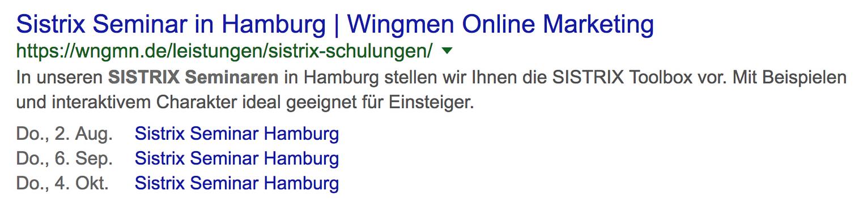 Zeigt ein Suchergebnis bei Google an. Unterhalb des Suchergebnisses werden in diesem Fall drei Events angezeigt