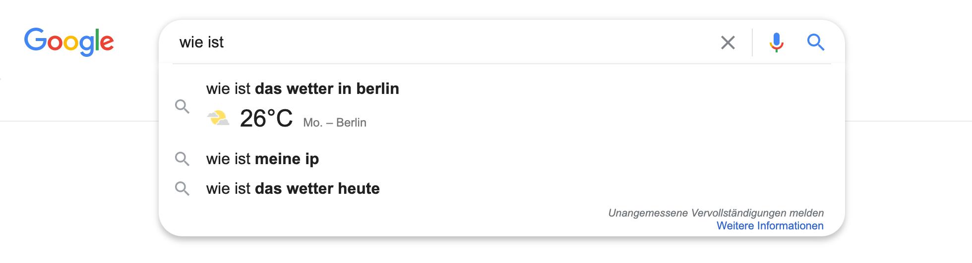 """Zeigt eine Beispiel-Google-Suchanfrage für das Keyword """"wie ist """" an."""
