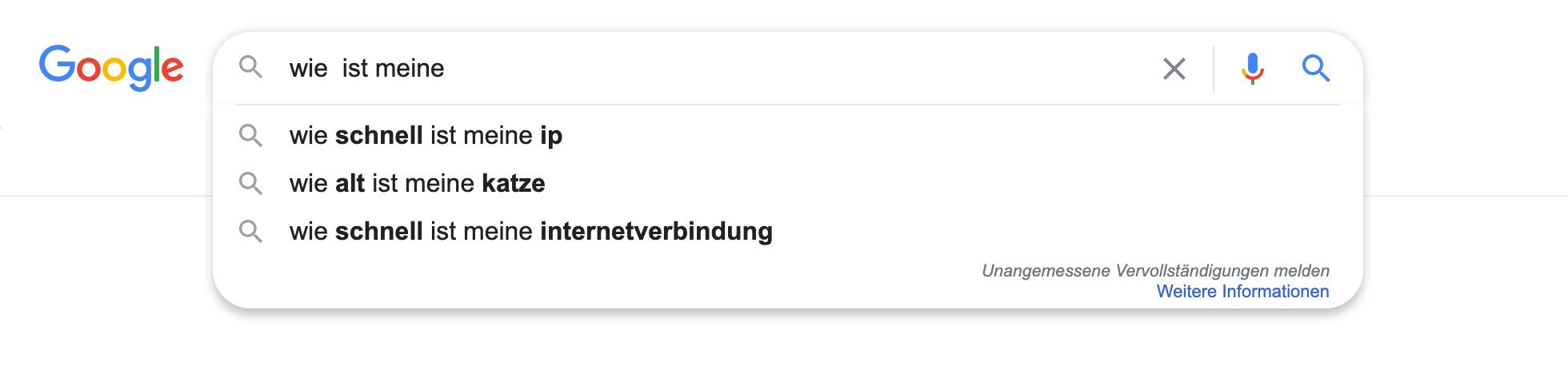 """Zeigt eine Beispiel-Google-Suchanfrage für das Keyword """"wie  ist meine"""" an."""