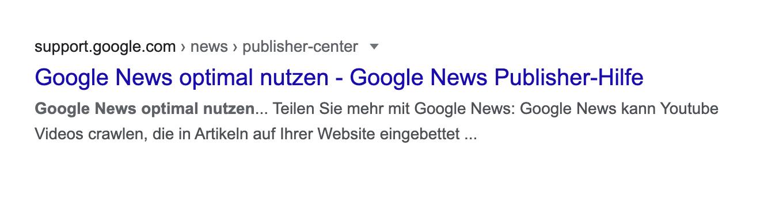Suchtreffer in den Google Suchergebnissen.
