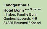 Adresse und Beschreibung des Landgasthaus Hotel Bonn.