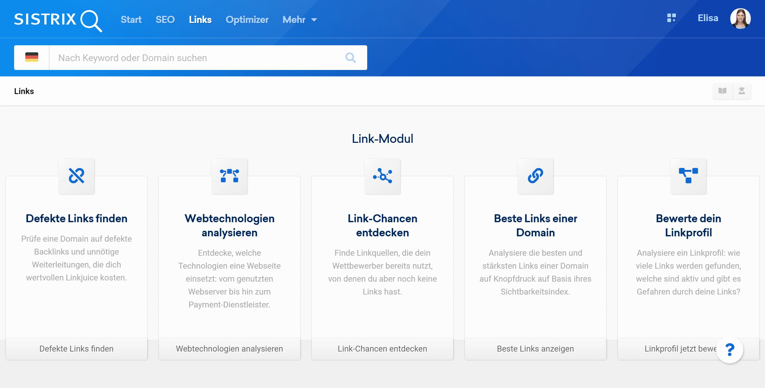 Startseite der Link-Modul