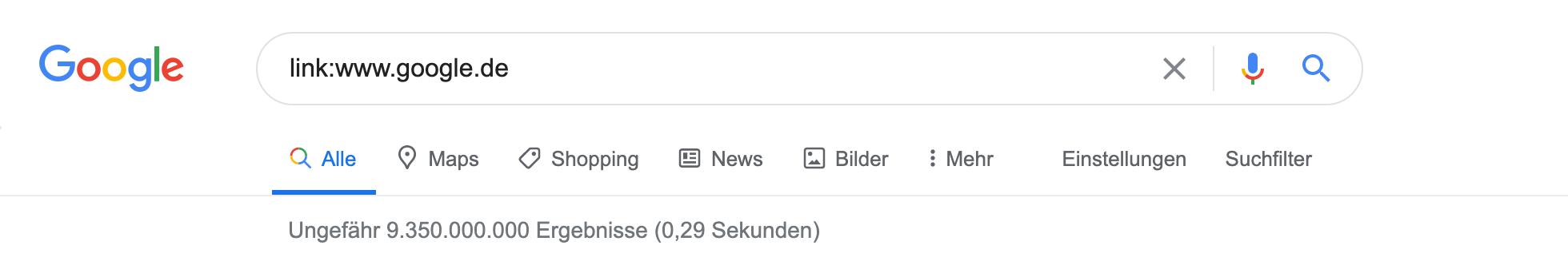 Zeigt die link:-Abfrage in den Google Suchergebnissen an.
