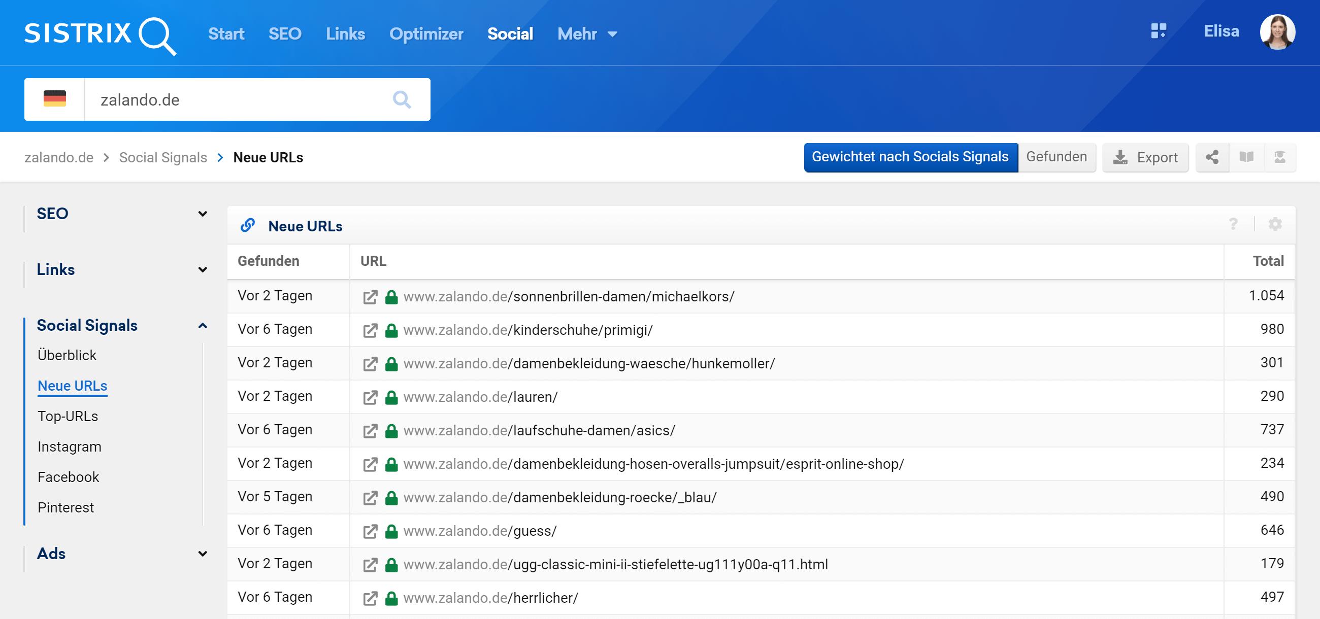 """Der Bereich """"Neue URLs"""" in dem Social Modul der SISTRIX Toolbox"""