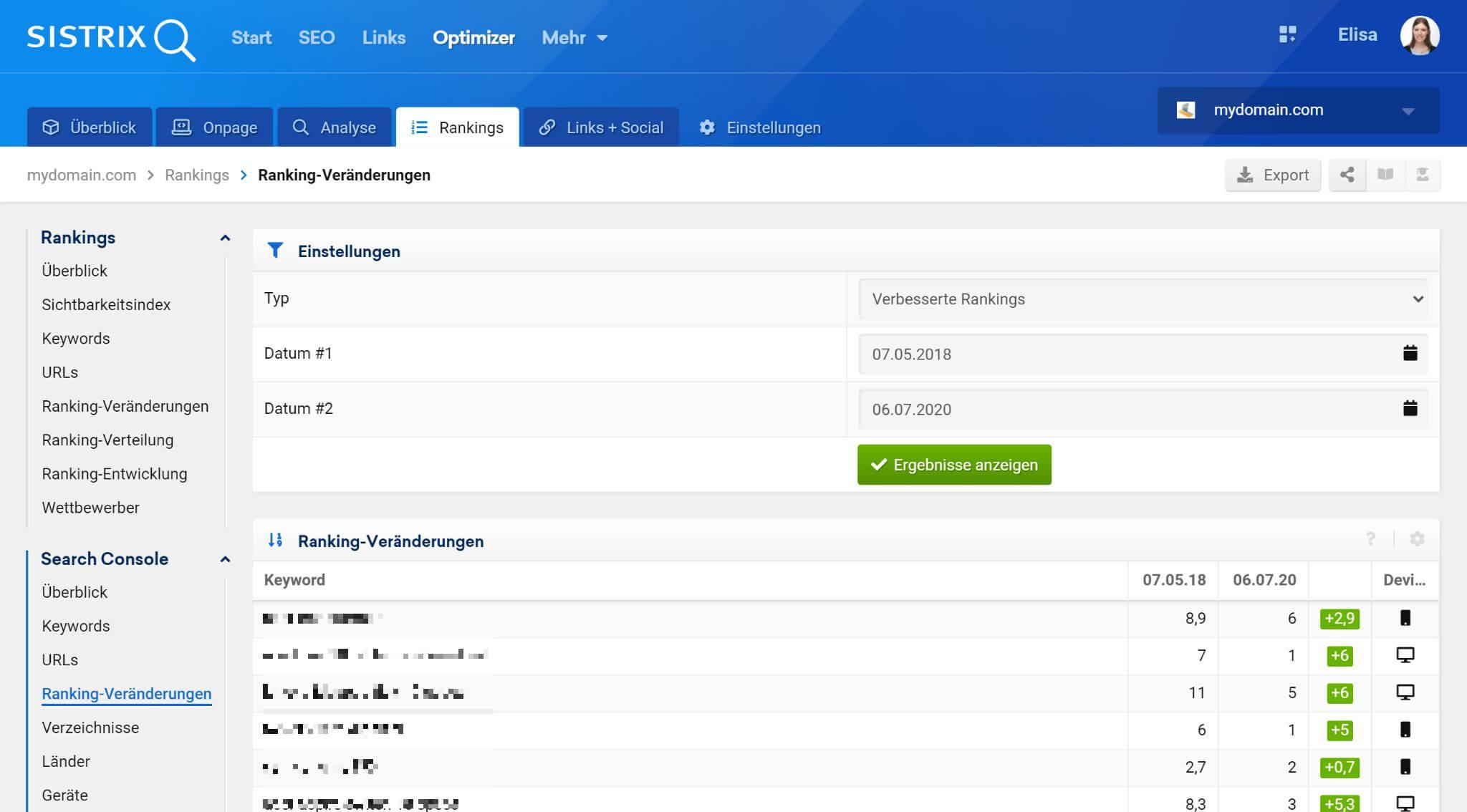 """Im Abschnitt """"Ranking-Veränderungen"""" kannst du alle Änderungen an den Keyword-Positionen deiner Website zwischen zwei verschiedenen Daten sehen."""
