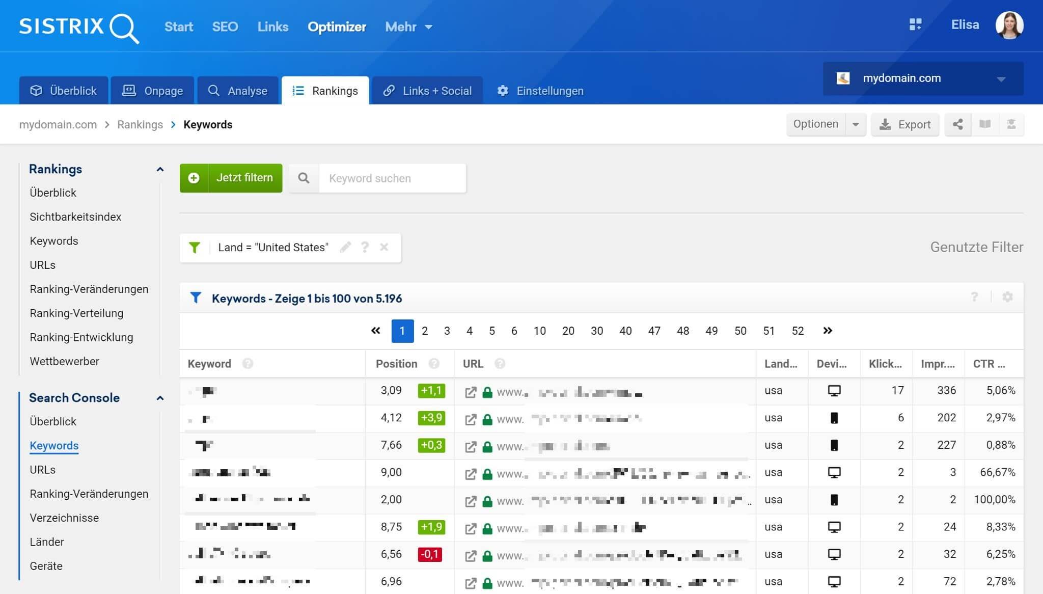 Der Abschnitt Keywords im Menü der Search Console des Optimizer-Projekts zeigt alle wichtigen Daten an einer Stelle an.