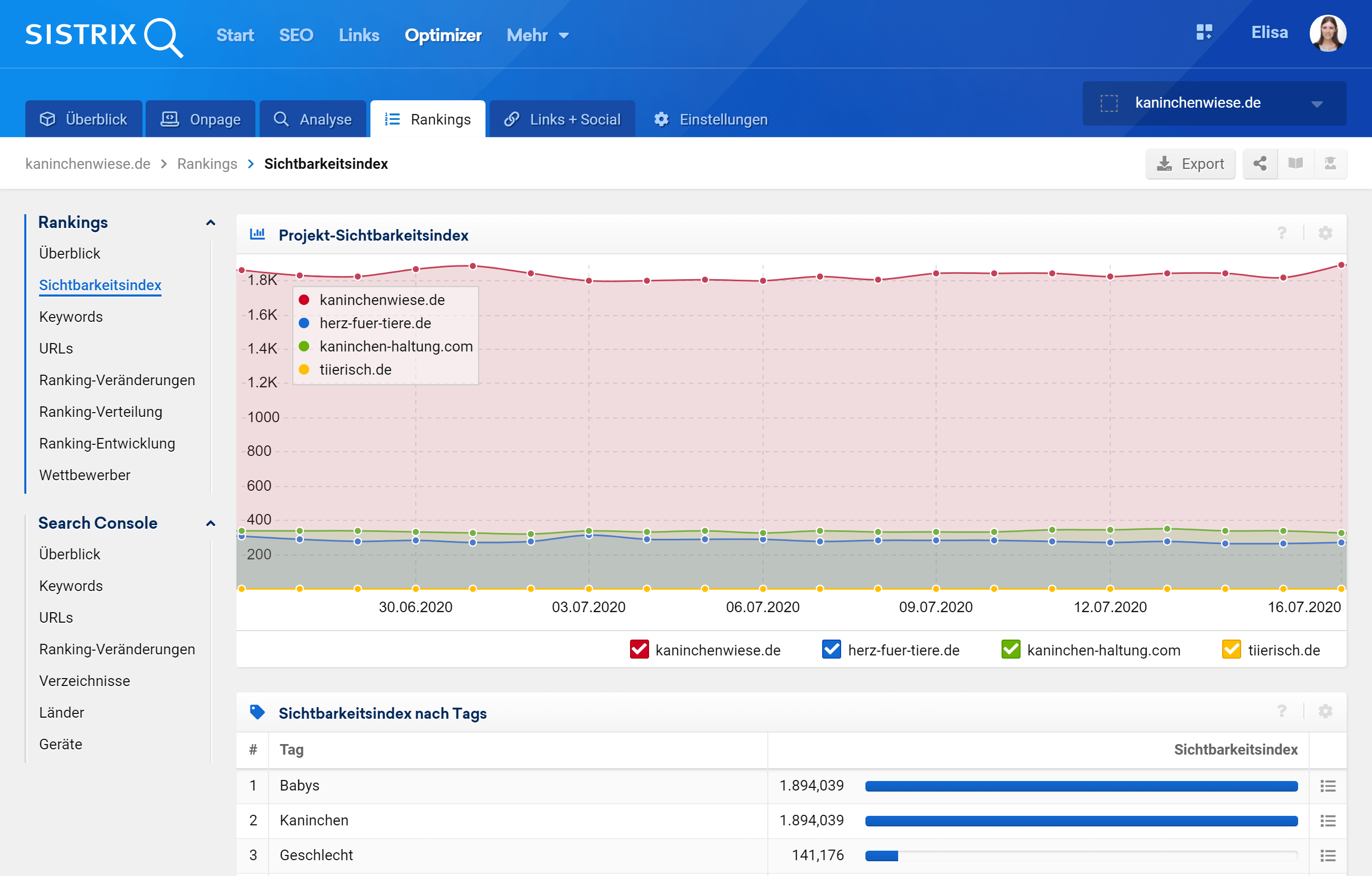 Rankings in einem SISTRIX Optimizer Projekt