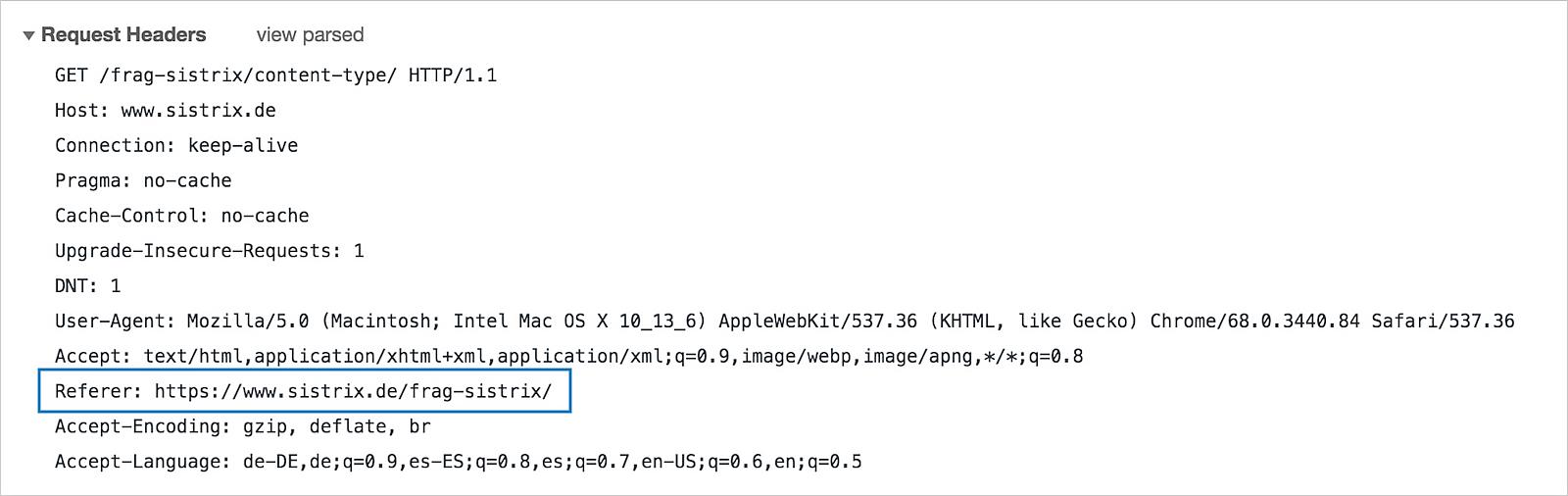 Hier wird ein Beispiel-Get-Request für die Seite sistrix.de/frag-sistrix/content-type/ angezeigt. Der Referer wird im Beispielbild hervorgehoben.