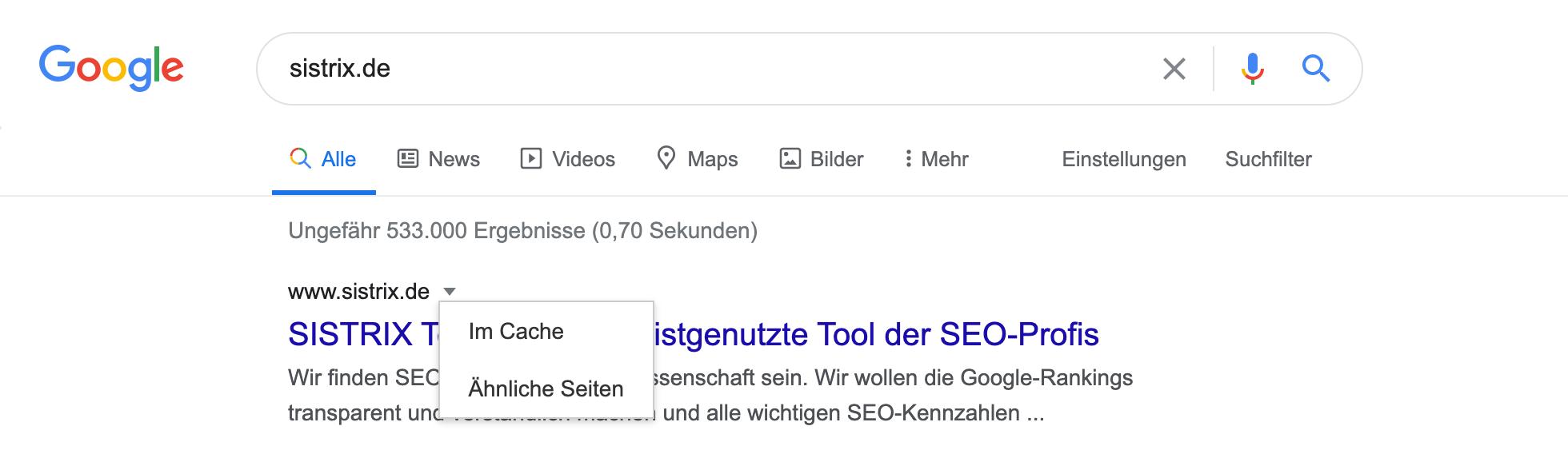 """Zeigt die Funktion """"Im Cache"""" in den Google Suchergebnissen an."""