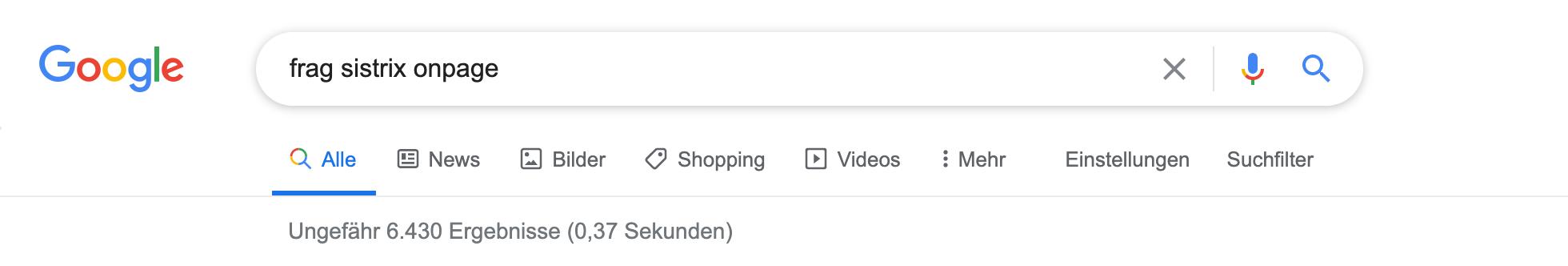 """Zeigt eine Beispiel-Google-Suche für das Keyword """"frag sistrix onpage"""" ohne Anführungszeichen an."""