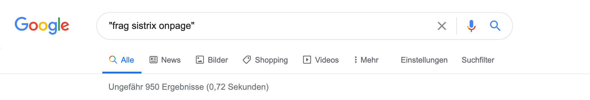 """Zeigt eine Beispiel-Google-Suche für das Keyword """"frag sistrix onpage"""" mit Anführungszeichen an."""