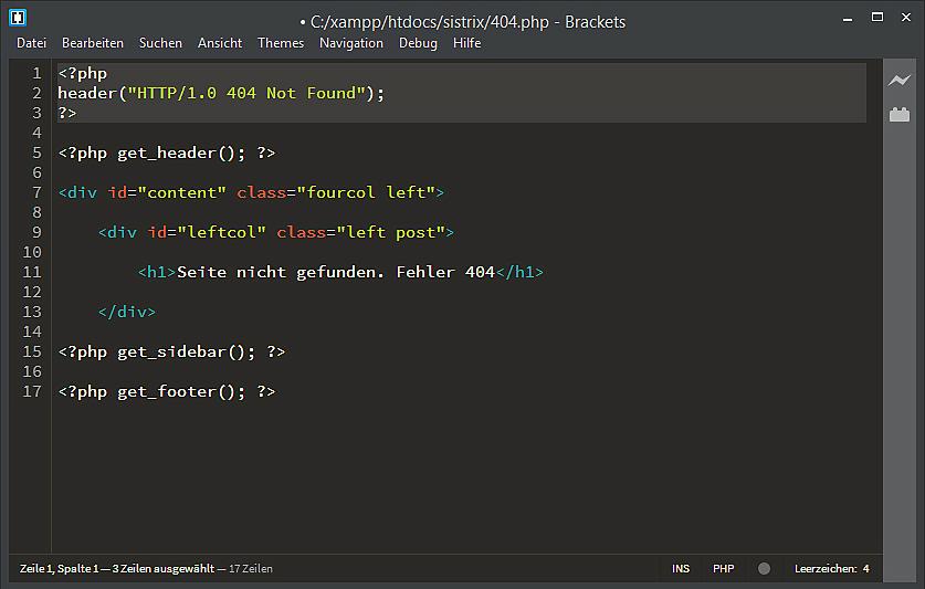 Konfiguration des HTTP-Statuscode 404 einer WordPress-Fehlerseite im Editor.