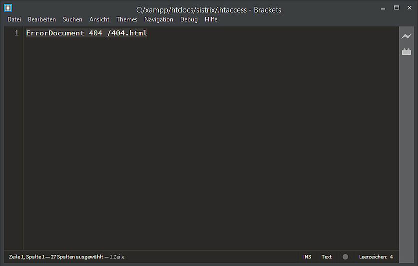Screenshot eines Editors der .htaccess-Datei mit Verweis auf das ErrorDocument 404.