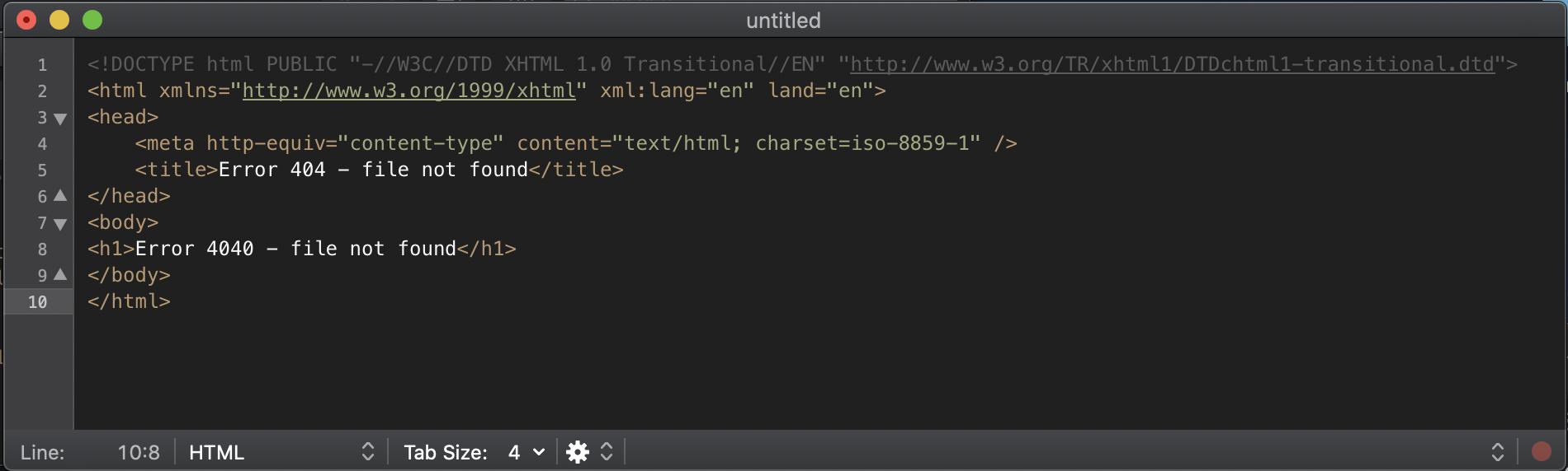 Quellcode: HTML-Markup einer 404-Fehlerseite