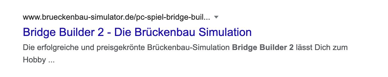 SERP-Snippet bei dem der Title nicht von Google aus dem Title-Element der Seite genommen wird.
