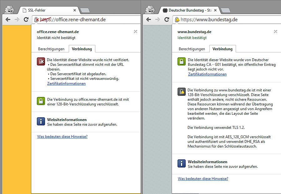 Zwei nicht validierende SSL-Zertifikate. Links ein selbst erstelltes Zertifikat welches abgelaufen ist und rechts ein besttigtes Zertifikat, welches nicht validiert, da auf der Seite Ressourcen geladen werdn die über eine nicht verschlüsselte Verbindung laufen.