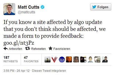 Twitter-Post von Matt Cuts.