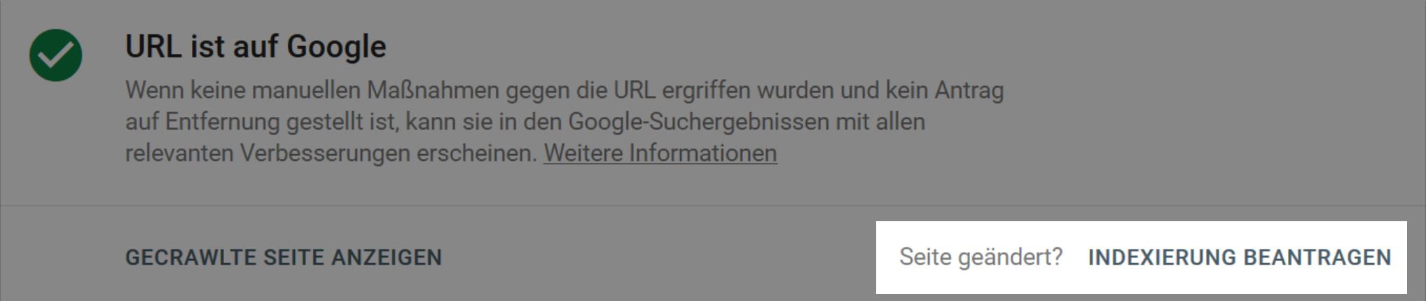 Indexierung durch Google in der Google Search Console beantragen.