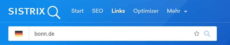 Suchleiste der SISTRIX Toolbox mit bonn.de als eingegebene Domain.