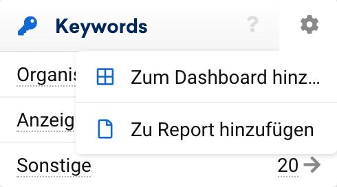 """Klicke dazu in der entsprechenden Box oben rechts auf das Zahnradsymbol um die Box-Optionen aufzurufen. Mit einem Klick auf """"Zum Report hinzufügen"""" gehts los."""