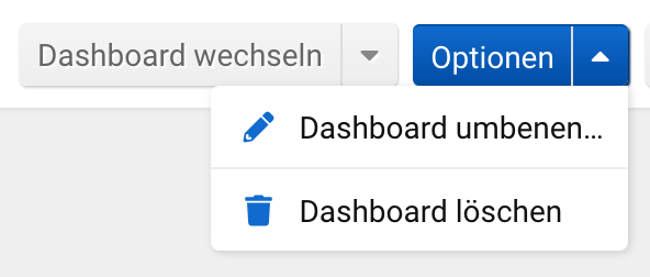 Allgemeine Optionen für eine Dashboard in der SISTRIX Toolbox